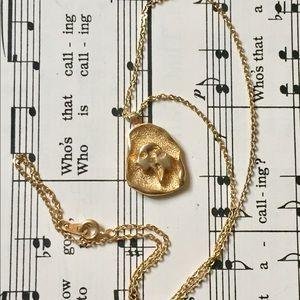 Gemini Astrology Sign Necklace Vintage Gold
